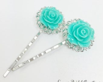 Teal Rose Hair Pin Filigree Bobby Pin Teal Hair Accessory Teal Bridesmaid Gift Flower Girl Gift Teal Wedding Gift Pretty Teal Bridal Jewelry