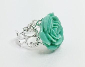 Jade Flower Ring Resin Rose Ring Jade Bridesmaid Flower Gift Jade Filigree Ring Pretty Green Rose Accessory Jade Prom Ring Flower Girl Gift