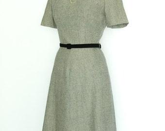 Vintage Wool 1940's A-Line Dress