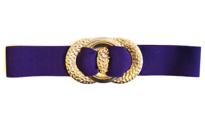 1980 s wide elastic purple belt with large by