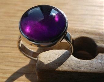 Sterling Silver Amethyst ring, Amethyst ring, Silver stone set ring, Amethyst cabochon ring