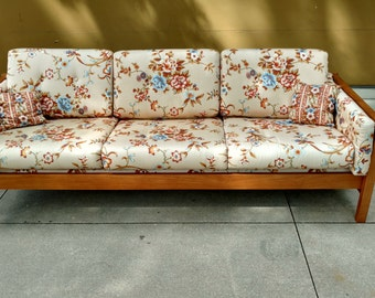 Mid Century Modern Teak Sofa with Floral Upholstery