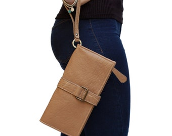 Large Clutch Wallet. Italian Leather Handcrafted Beige Wristlet Pocketbook for her. Gift for wife anniversary, daughter. Lucky charm. Ganza