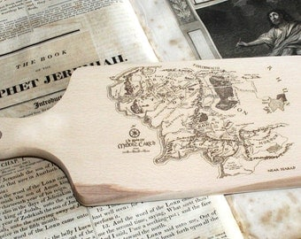 Middle Earth Map Chopping / Cutting Board Solid Birch Fathers Day gift kitchen baker cooking word art Lord of the Rings