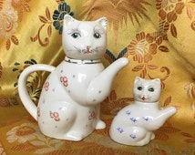 "White Retro Good Luck Porcelain Teapot Cat with Small Orange Flowers Comes with its Mini/Baby 3"" lucky cat  Handmade in China"