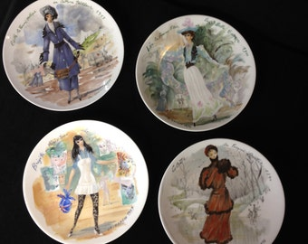 Vintage 1976 D'Arceau Limoges Les Femmes du Siecle Women of Century 4 Collectors Plates Signed Numbered and Dated Original Package