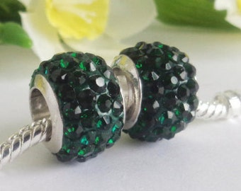 1 European Large Hole Stainless Steel Charm Crystal Pearl Emerald Green