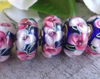 14mm - 2 Pink Flowers Beads Murano Glass  European Style Charms Big Hole Silver Core 4.5mm