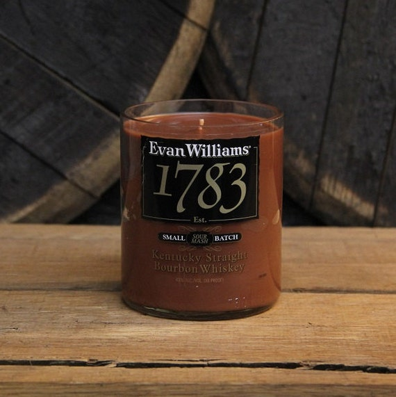 Upcycled Evan Williams 1783 Candle - Recycled Bourbon Bottle Candle Handmade Soy Candle 750ml Recycled Glass Bottle 18oz Soy Wax