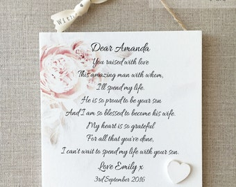 Bride Thank you Mother of The Groom Plaque Personalised Wooden Card Heart W267