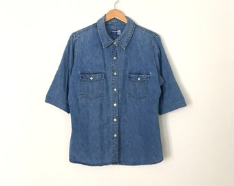 VENEZIA JEANS 3/4 Sleeve Denim Shirt, Size M