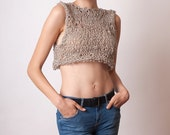 Beige crop top, linen cotton knit tank, sexy summer top, sleeveless crop tank, boho knit top, fashion gifts for women and teens, hippie top
