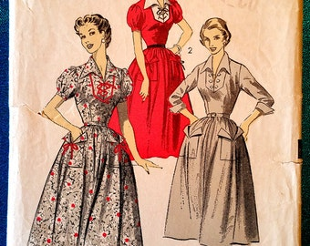 "Vintage 1953 lace up bib front dress sewing pattern - Advance 6566 - size 12 (30"" bust, 25"" waist, 33"" hip) - 1950's"