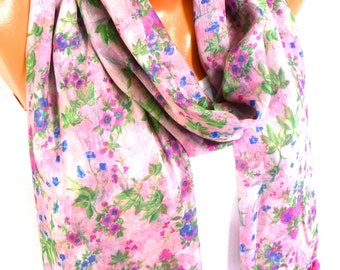Scarf, Shawl, Flowered Scarf, Womens Fashion Accessories, Flower printed scarf,  Lightweight Summer Scarf, Spring Scarf, Gifts for Christmas