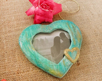 Heart Photo Frame, Paper Mache Heart, Paper Photo Frame, Heart Picture Holder, Ooak Wall Decor, Valentines Day Frame, Gift For Her