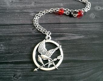 Mockingjay crystal pendant necklace