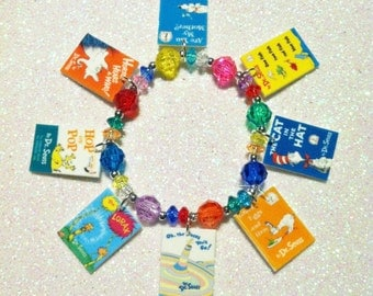 Dr. Seuss Book Cover Charm Bracelet, Girls Novelty Charm Bracelet, Girls Charm Bracelet