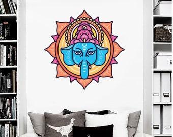 Ganesh vinyl decal - Hindu God Wall Art - Lotus Flower Art