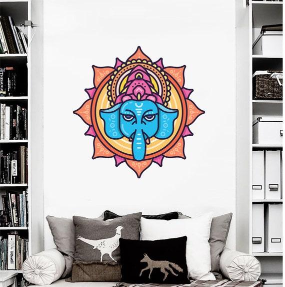 Ganesh vinyl decal - Hindu God Wall Art - Lotus Flower Art by ...