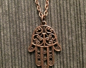 Antique Copper Hamsa Hand Pendant Necklace