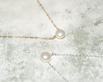 Delicate White Freshwater Pearl Necklace with Gold Filled or Sterling Silver Extra Fine Chain, White Pearl Solitaire Necklace, Minimalist