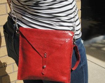 Red Snakeskin Leather Envelope Clutch | Envelope Clutch