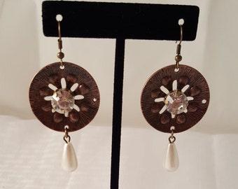 Bronze Earrings - Round Earrings - Crystal Earrings - Women's Earrings - White Earrings - Dangle Earrings - Women's Bronze Earrings - White
