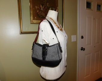 COACH~Wool Hobo Shoulder Bag Purse with Black Leather Trim