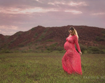 Maternity Dress - Victoria - Watermelon Pink - XS to XXL (Petite to Plus) - Lace - Full Sleeve - Full Length