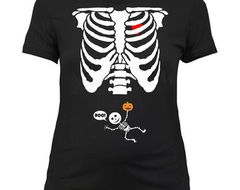 Halloween Maternity Shirt Pregnancy Reveal Baby Announcement T Shirt Pregnant Gifts Skeleton Mommy To Be New Baby TShirt Ladies Tee -SA474