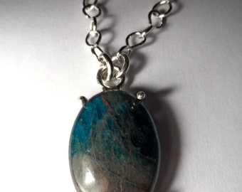 Blue Apatite Cabochon Pendant - Handmade .925 Sterling Silver Chain and Setting - Genuine Gemstone