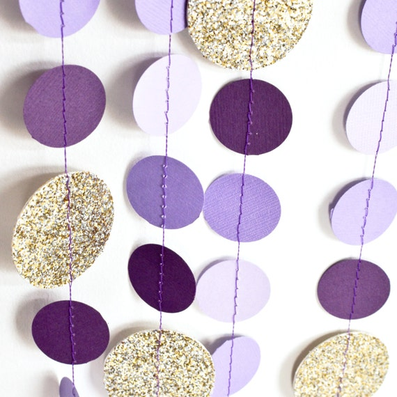 Purple Gold 10ft Paper Garland Birthday Party Decor