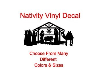 Nativity Vinyl Decal (Choose From Many Different Colors)