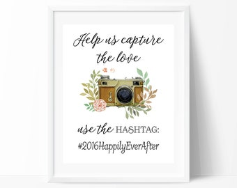 Wedding Hashtag Sign PRINTABLE Art, Instagram Wedding Sign, Instagram Poster, Vintage Wedding, Custom Wedding Sign, Wedding Decor