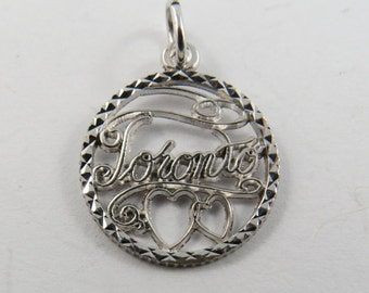 Toronto with Two Hearts Below Sterling Silver Charm or Pendant.