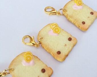 Kawaii Toast Charm - Polymer Clay Charm - Polymer Clay Toast - Kawaii Polymer Clay Charm - Toast Necklace - Pastel Goth Phone Charm