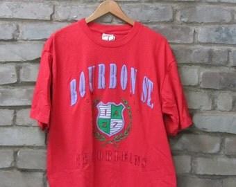 Vintage Bourbon Street New Orleans t-shirt Nutmeg Mills super soft thin red Mardi Gras shirt hipster souvenir shirt - Large