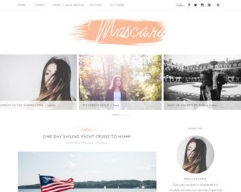 Wordpress theme - wordpress template- Feminine wordpress theme - Responsive WordPress Theme - Blog template - Fashion template - Mascara