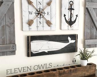 nautical art set 3 piece set rustic beach house decor wooden nautical decor - Nautical Decor
