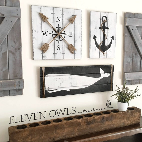 Nautical art set 3 piece set rustic beach house decor for Anchor decor