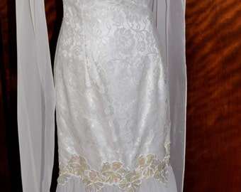 Vintage Jessica McClintock Gunne Sax White Chiffon Evening Gown, White Bridal Gown, Wedding Gown, Chiffon Wedding Gown, White Bridal Dress