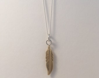 9ct Yellow Gold Feather Pendant with Silver Chain  solid gold feather