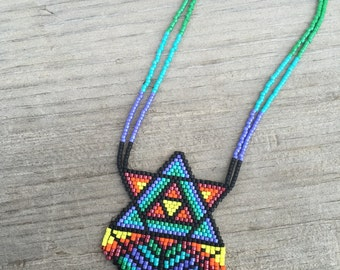 Beaded talisman necklace •Geo Grid• seed bead rainbow jewelry, geometric,colorful, Handwoven fractal, hippie, chakras, MadeTo Order