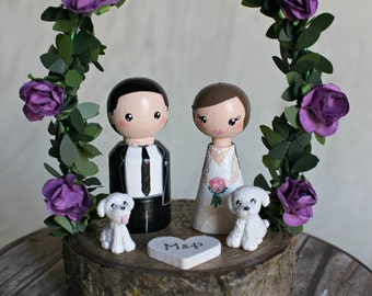 Personalized Wedding Cake Topper with arch, Customized Wedding Cake, Peg Dolls, Custom Wedding Bride and Groom, Custom Cake Top, dog, pet