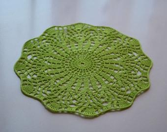 Lime-green doily, Crochet doily, Round crochet doily, Handmade doily, crochet lace doily, Crochet table decoration, Crochet placemat
