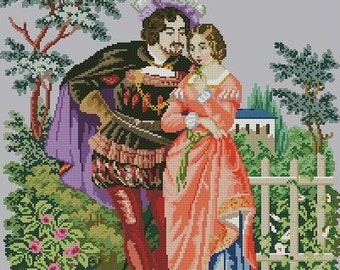"Cross-stitch pattern ""Faust and Marguerite"""