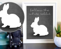 Follow the White Rabbit The Matrix Alice in Wonderland Instant Poster on Gray Background Digital Download