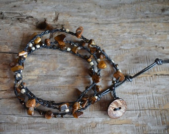 Gemstone Bracelet, Beaded Crochet Jewelry, Crochet Wrap Bracelet, Boho Beach Jewelry, Crocheted Jewelry, Wrap Bracelet