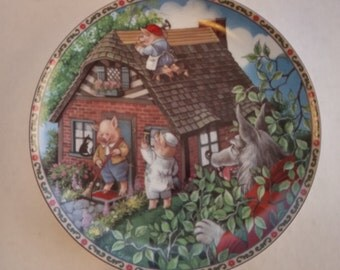 """Vintage 1988 Knowles Plate """"The Three Little Pigs"""" by Karen Pritchett"""