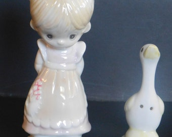 Precious Moments Girl with Goose Salt and Pepper Shakers by Enesco